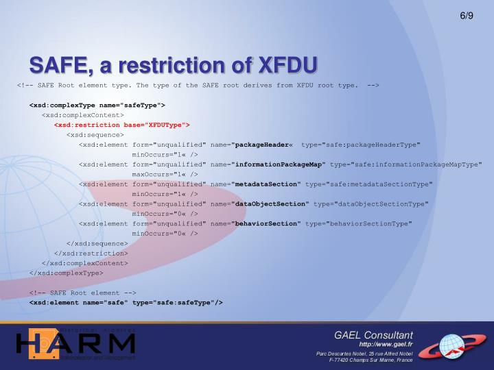 SAFE, a restriction of XFDU