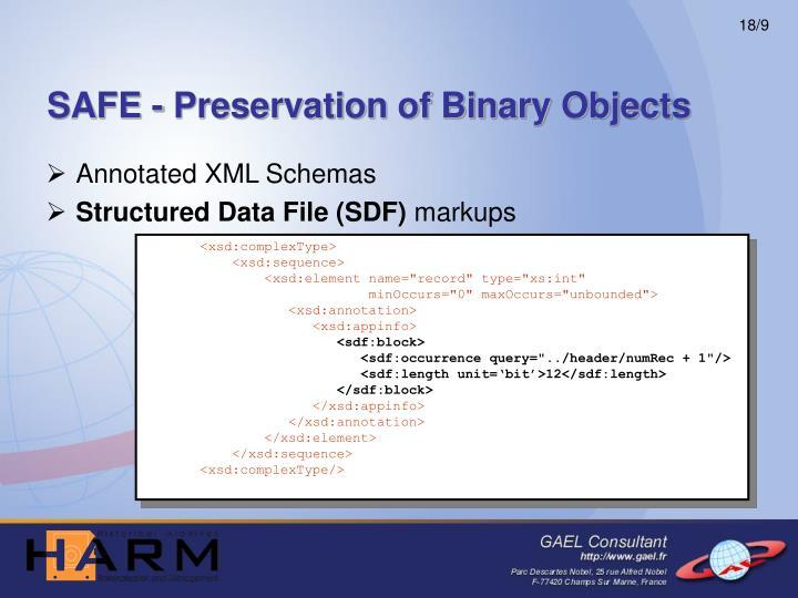 SAFE - Preservation of Binary Objects