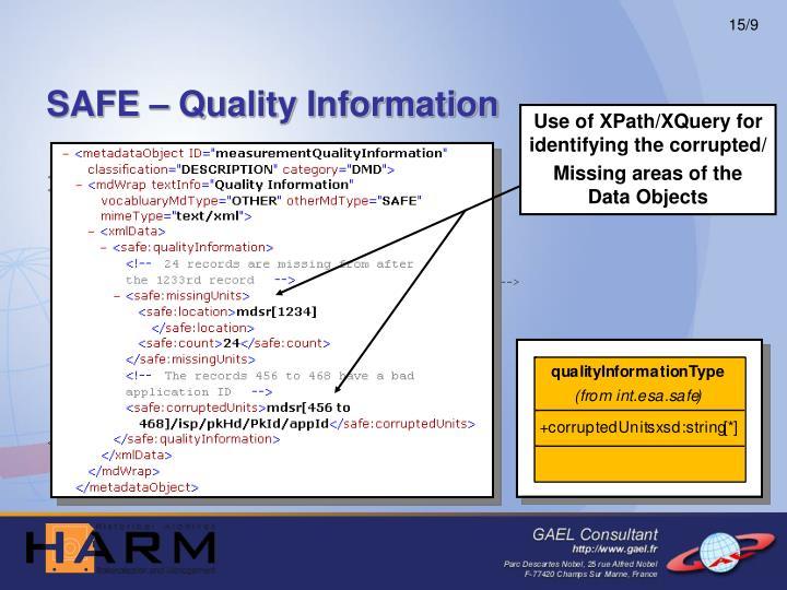 SAFE – Quality Information