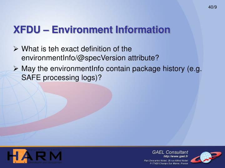 XFDU – Environment Information