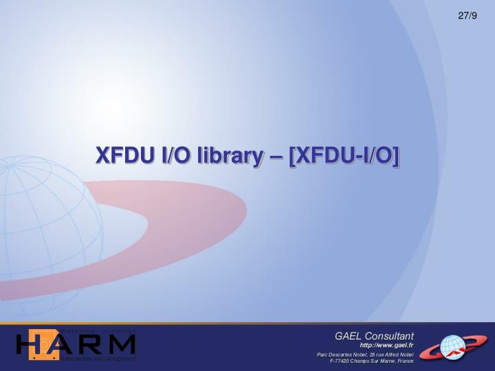 XFDU I/O library – [XFDU-I/O]