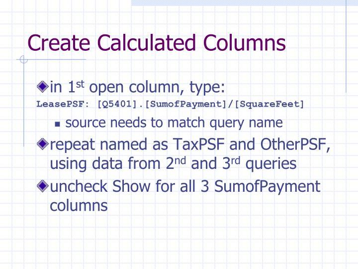 Create Calculated Columns