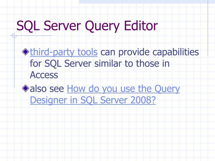 SQL Server Query Editor