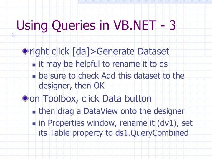 Using Queries in VB.NET - 3