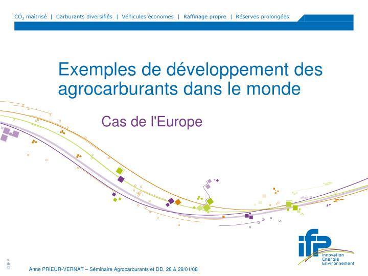 Exemples de développement des agrocarburants dans le monde