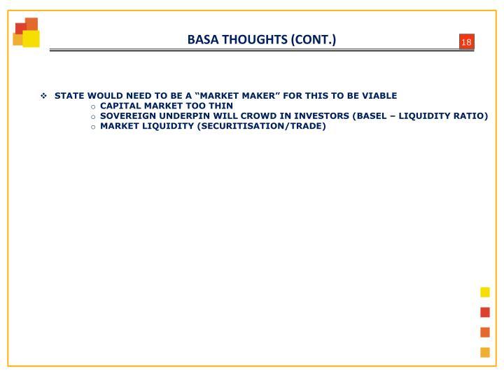 BASA THOUGHTS (CONT.)