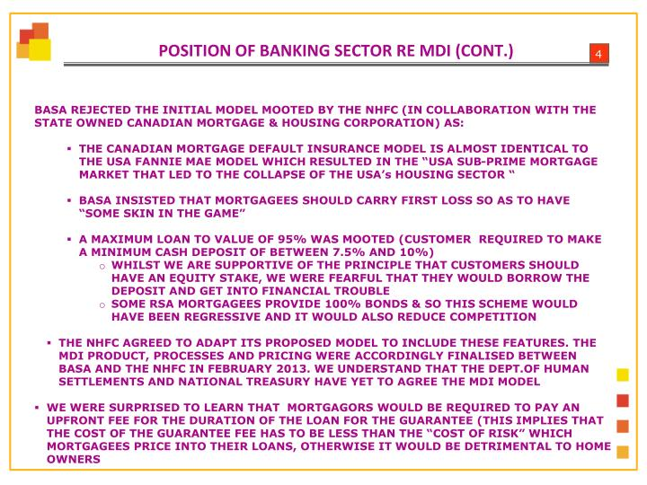 POSITION OF BANKING SECTOR RE MDI (CONT.)