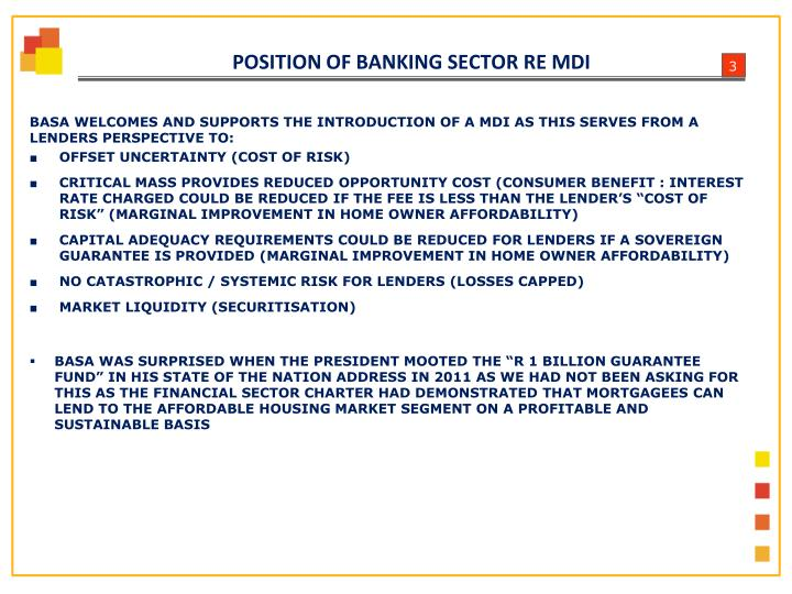 Position of banking sector re mdi