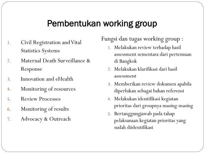 Pembentukan working group
