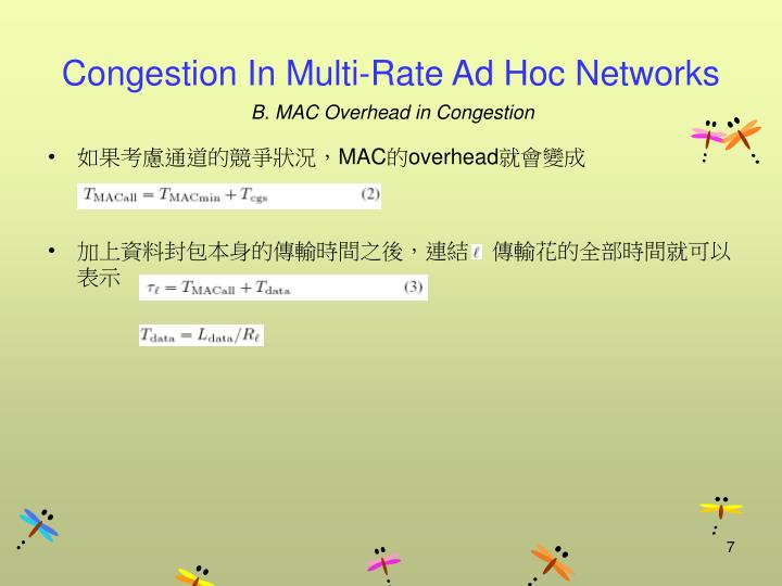 Congestion In Multi-Rate Ad Hoc Networks