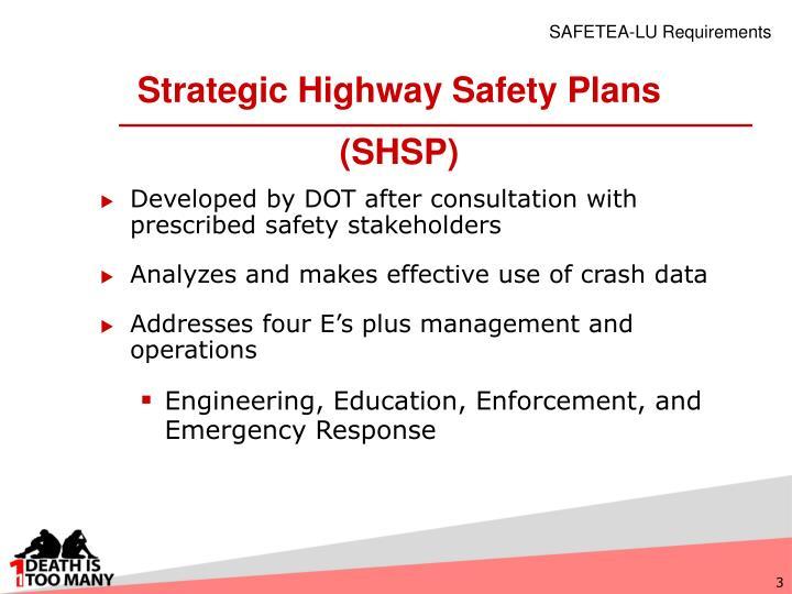 Strategic highway safety plans shsp