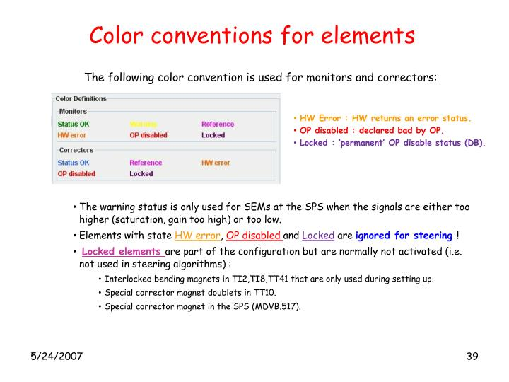 Color conventions for elements
