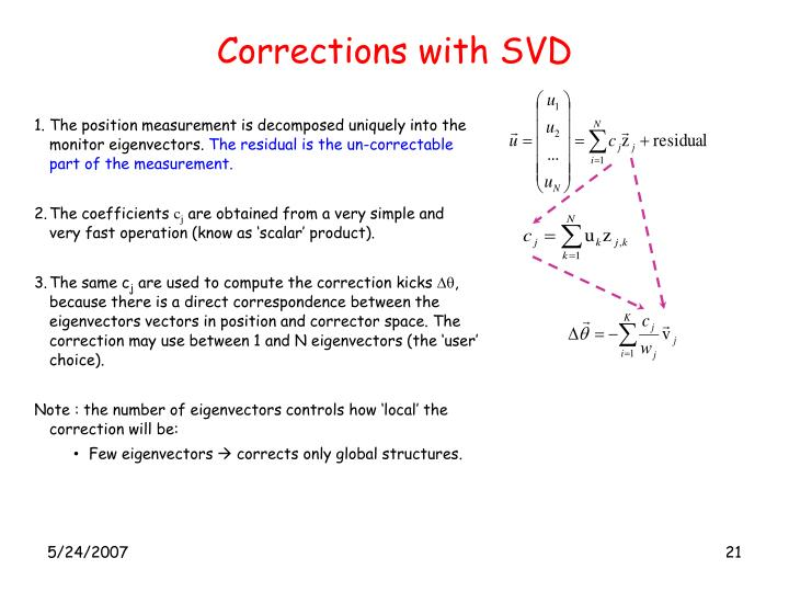 Corrections with SVD