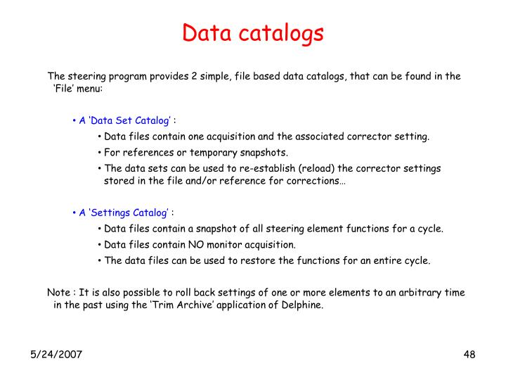 Data catalogs