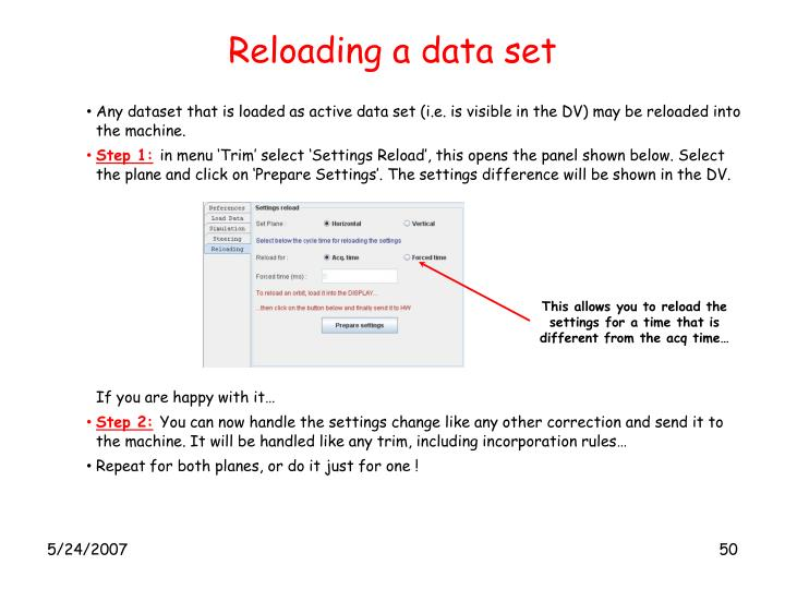 Reloading a data set