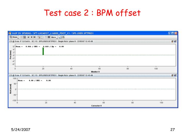 Test case 2 : BPM offset