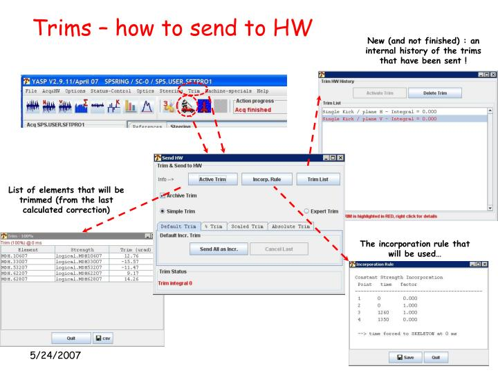 Trims – how to send to HW