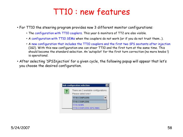 TT10 : new features