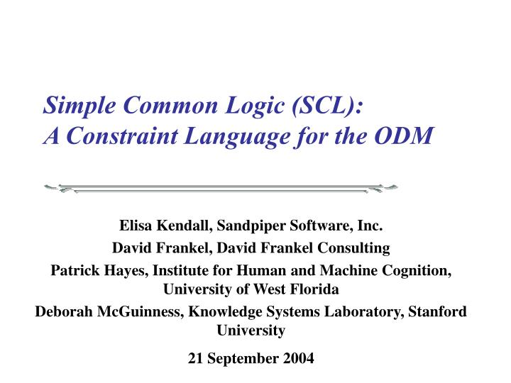 simple common logic scl a constraint language for the odm n.