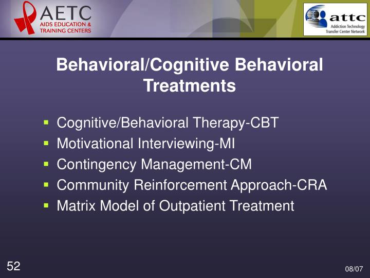 Behavioral/Cognitive Behavioral Treatments
