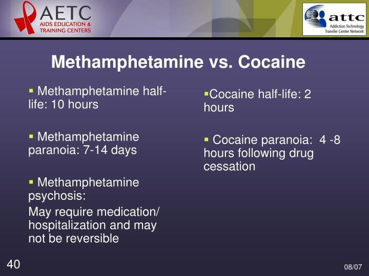 Cocaine half-life: 2 hours