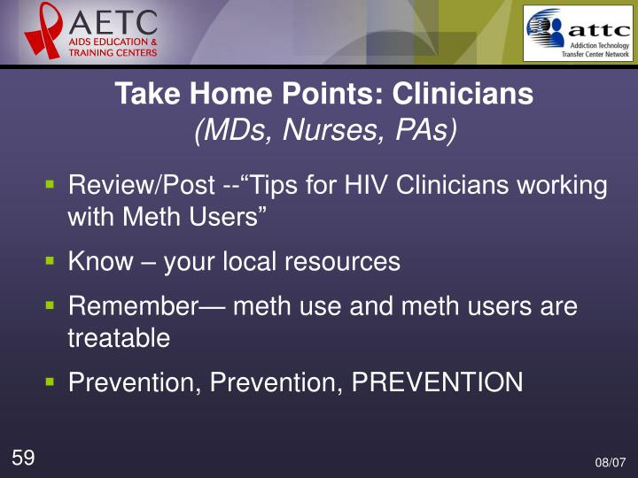 Take Home Points: Clinicians