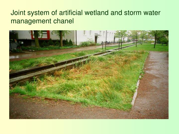 Joint system of artificial wetland and storm water management chanel