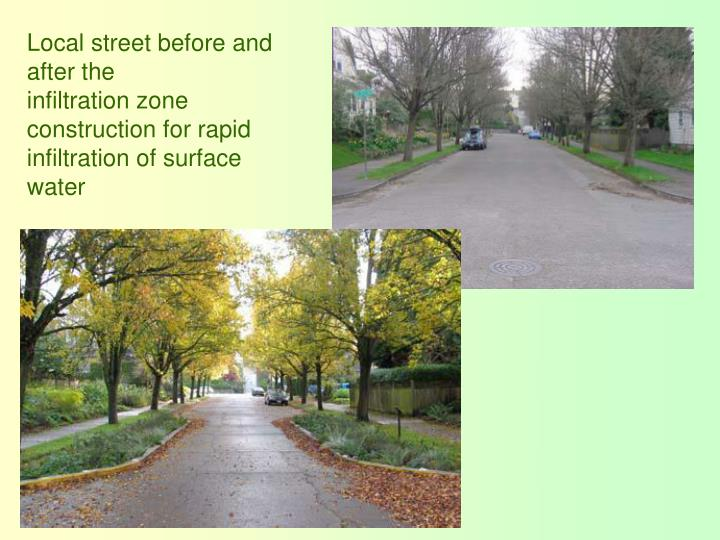 Local street before and after the