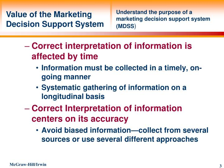 Understand the purpose of a marketing decision support system (MDSS
