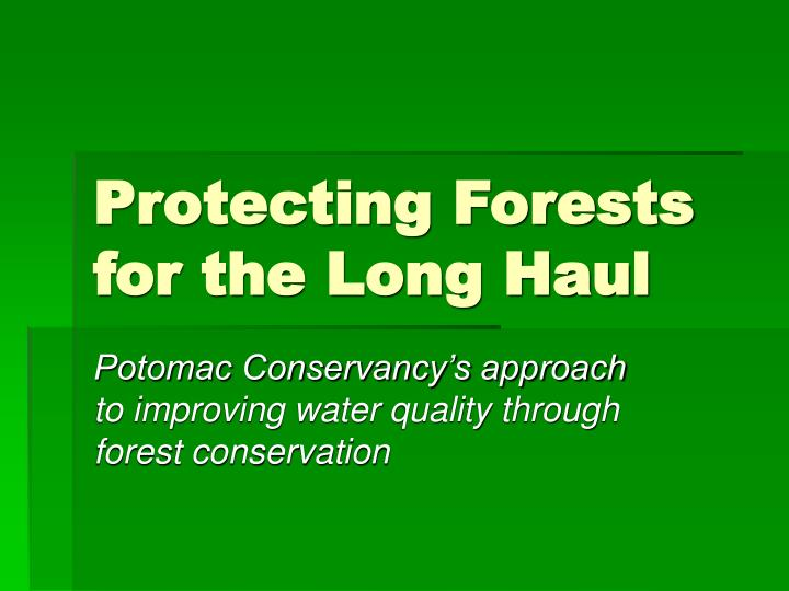 protecting forests for the long haul n.