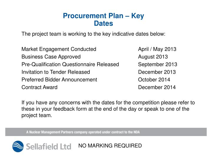 Procurement Plan – Key Dates