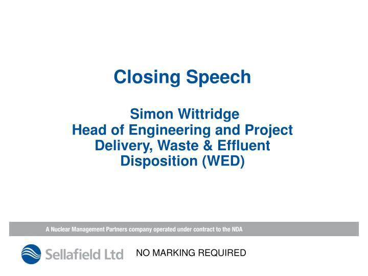 Closing Speech