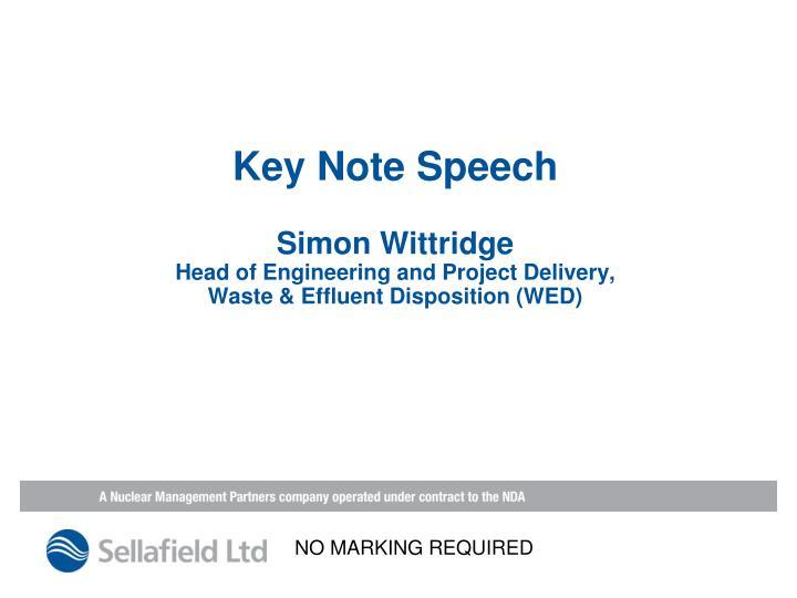 Key Note Speech