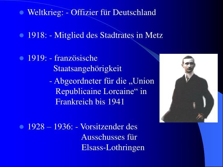 Weltkrieg: - Offizier für Deutschland