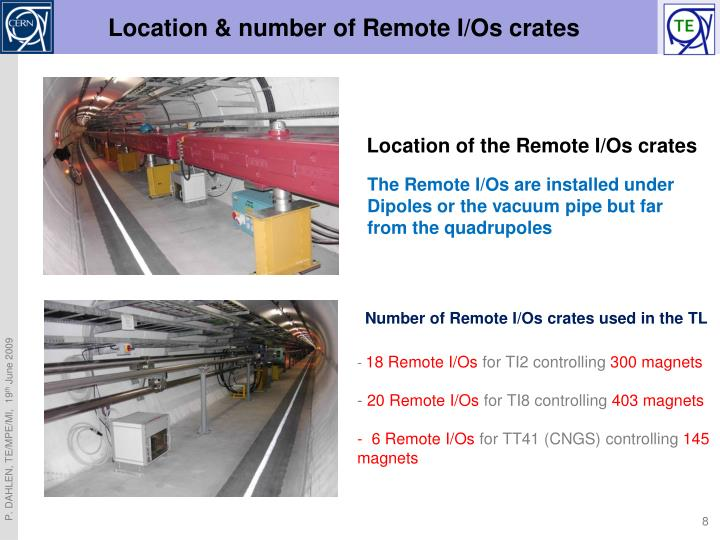 Location & number of Remote I/Os crates