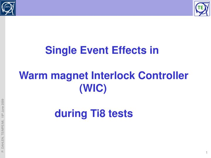 Single Event Effects in