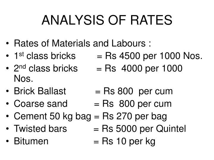 ANALYSIS OF RATES
