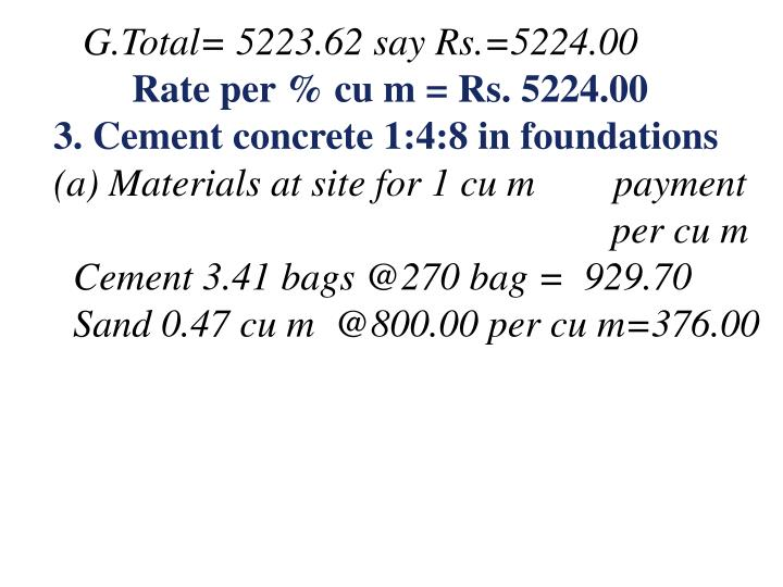 G.Total= 5223.62 say Rs.=5224.00