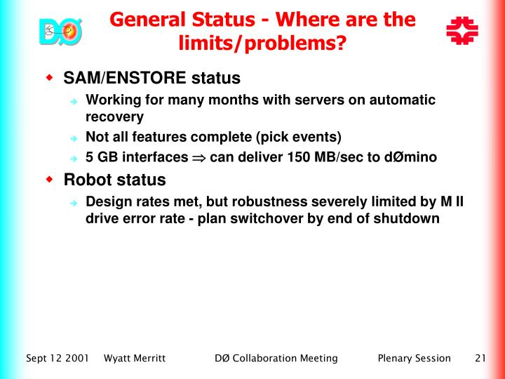 SAM/ENSTORE status