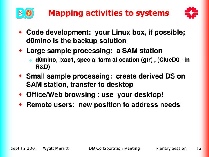 Code development:  your Linux box, if possible; d0mino is the backup solution