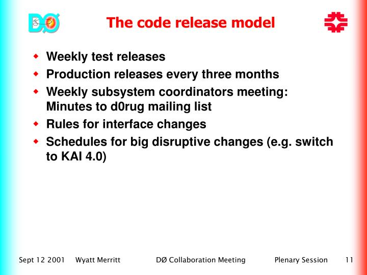 Weekly test releases
