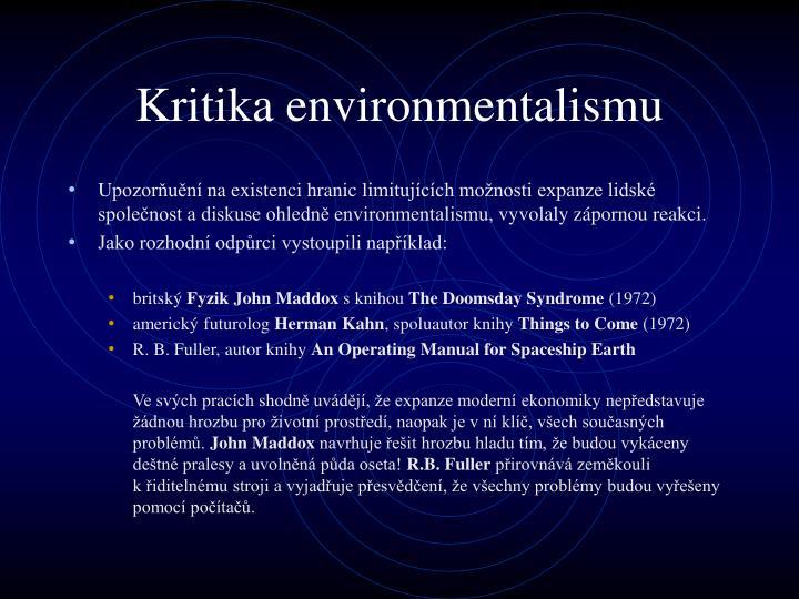 Kritika environmentalismu