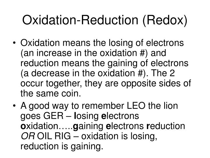 Oxidation-Reduction (Redox)