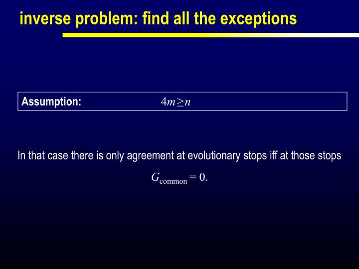 inverse problem: find all the exceptions