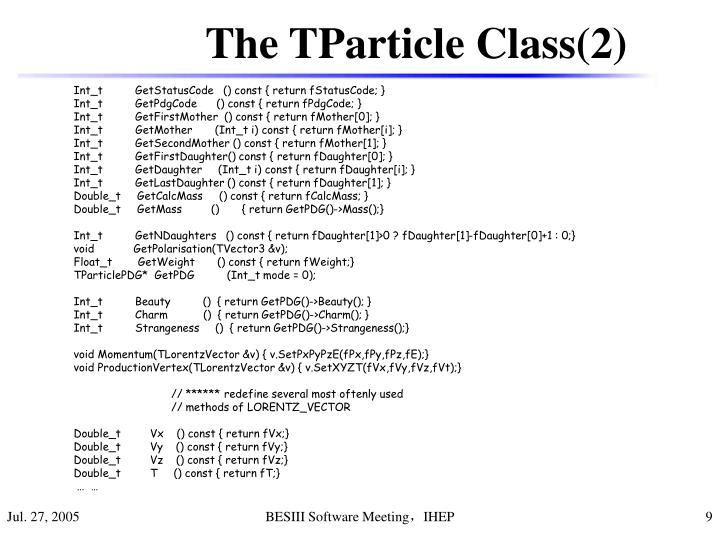 The TParticle Class(2)