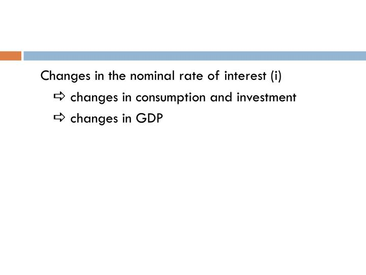Changes in the nominal rate of interest (i)