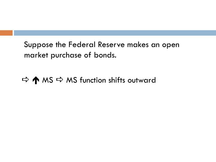 Suppose the Federal Reserve makes an open market purchase of bonds.