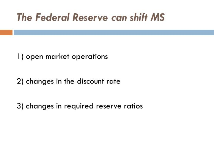 The Federal Reserve can shift MS