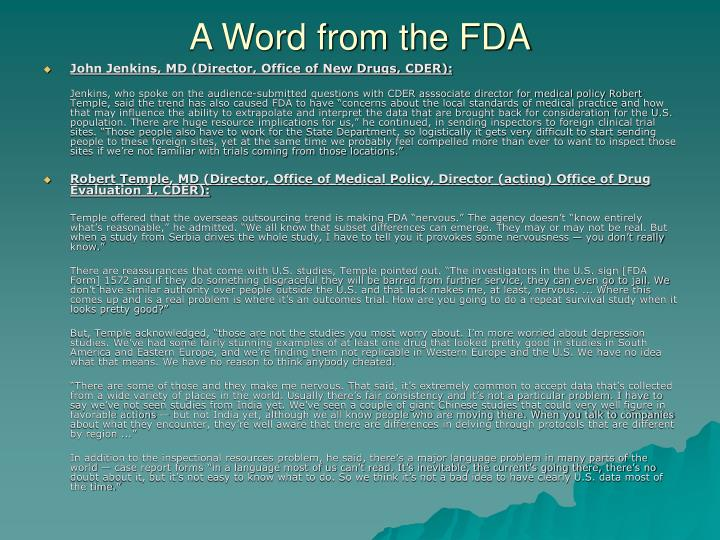 A Word from the FDA