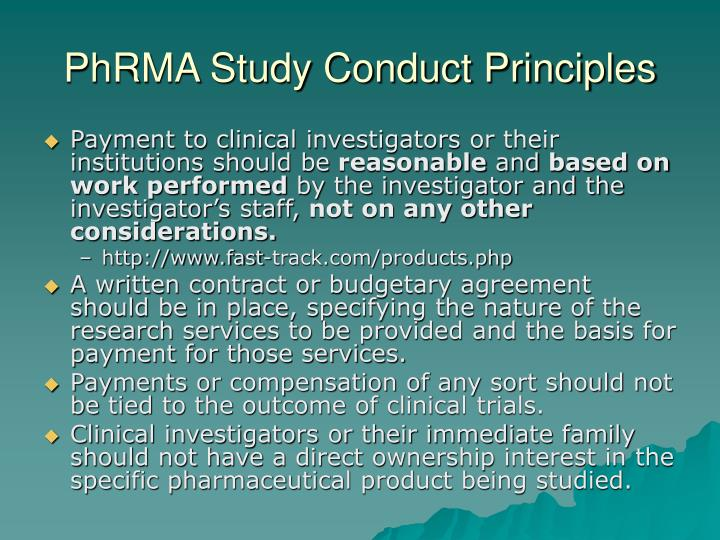 PhRMA Study Conduct Principles